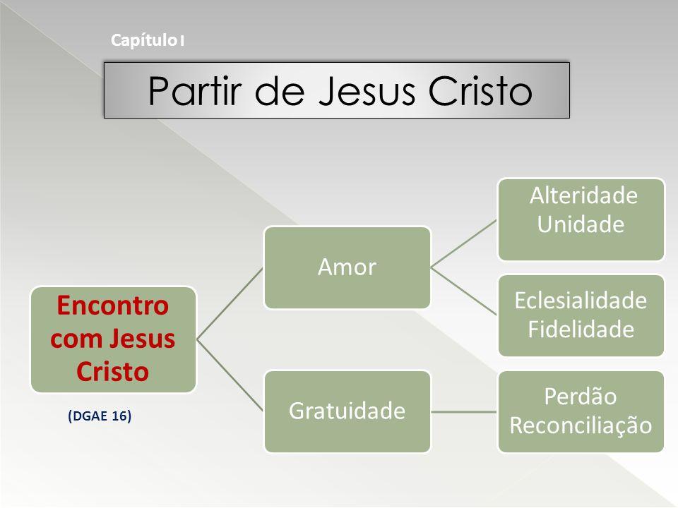 Partir de Jesus Cristo Capítulo I Encontro com Jesus Cristo Amor Alteridade Unidade Eclesialidade Fidelidade Gratuidade Perdão Reconciliação (DGAE 16)