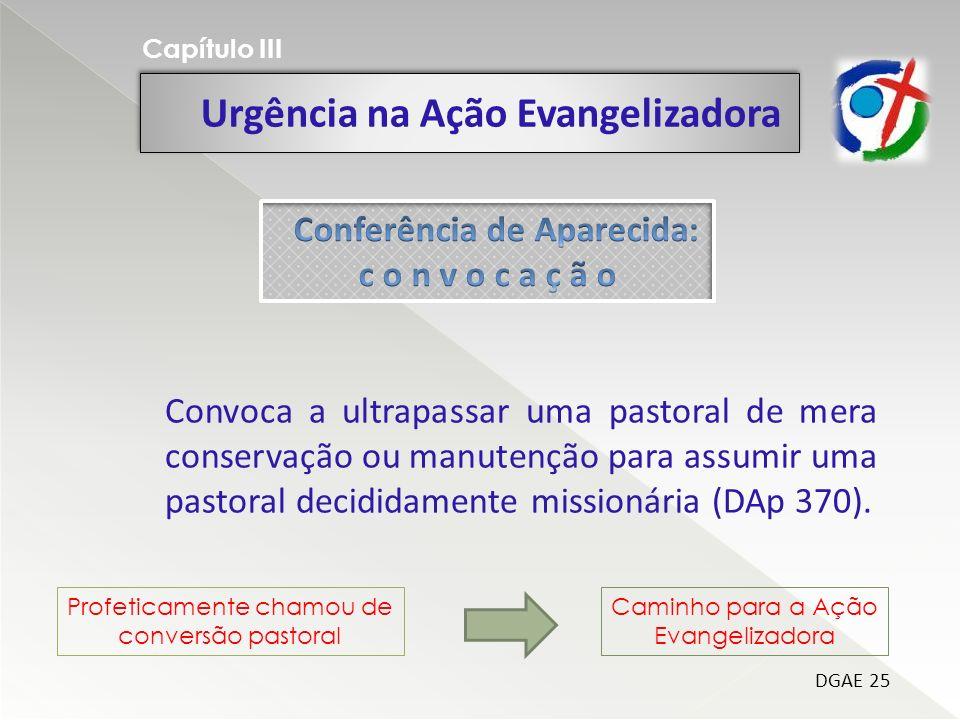 Urgência na Ação Evangelizadora Capítulo III DGAE 25 Convoca a ultrapassar uma pastoral de mera conservação ou manutenção para assumir uma pastoral decididamente missionária (DAp 370).