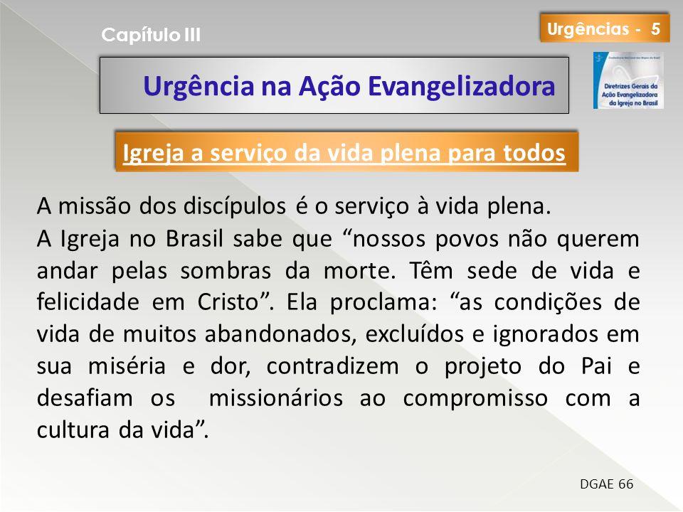 Urgência na Ação Evangelizadora Capítulo III DGAE 66 A missão dos discípulos é o serviço à vida plena. A Igreja no Brasil sabe que nossos povos não qu