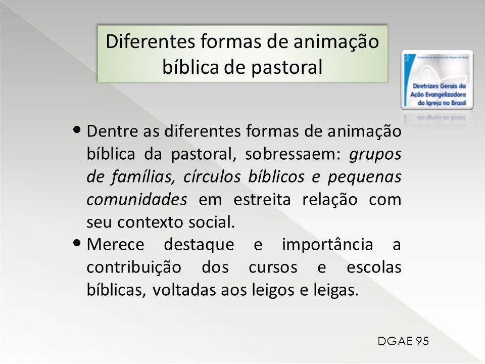 Dentre as diferentes formas de animação bíblica da pastoral, sobressaem: grupos de famílias, círculos bíblicos e pequenas comunidades em estreita relação com seu contexto social.