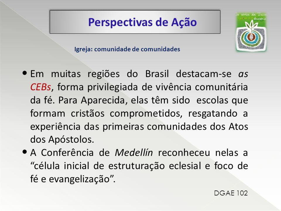 Perspectivas de Ação Em muitas regiões do Brasil destacam-se as CEBs, forma privilegiada de vivência comunitária da fé. Para Aparecida, elas têm sido