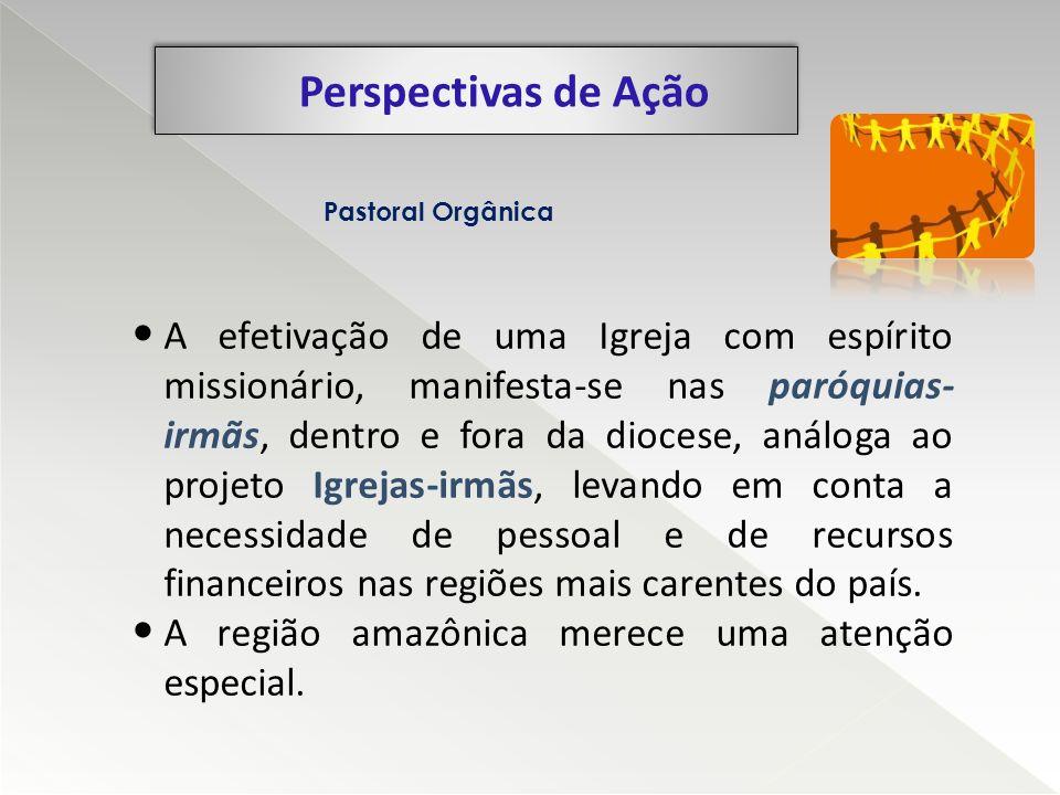 Perspectivas de Ação Pastoral Orgânica A efetivação de uma Igreja com espírito missionário, manifesta-se nas paróquias- irmãs, dentro e fora da dioces