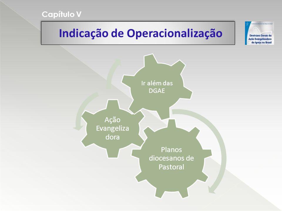 Indicação de Operacionalização Capítulo V Planos diocesanos de Pastoral Ação Evangeliza dora Ir além das DGAE
