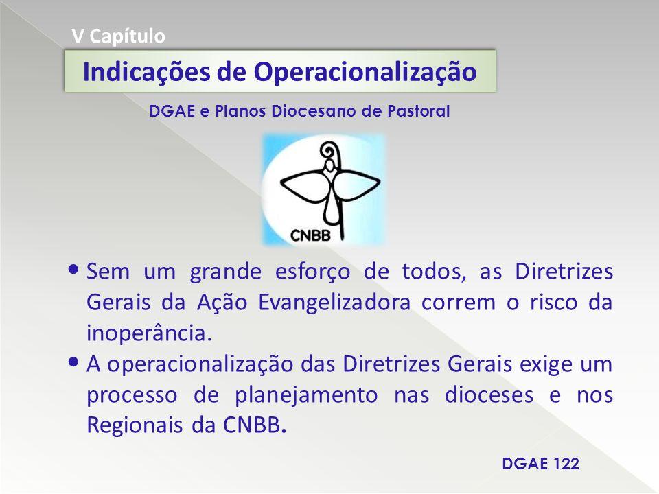 V Capítulo Indicações de Operacionalização Sem um grande esforço de todos, as Diretrizes Gerais da Ação Evangelizadora correm o risco da inoperância.