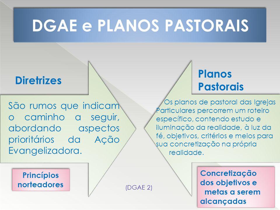 DGAE e PLANOS PASTORAIS São rumos que indicam o caminho a seguir, abordando aspectos prioritários da Ação Evangelizadora. Os planos de pastoral das Ig