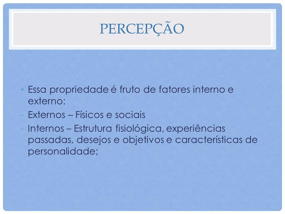 PERCEPÇÃO Essa propriedade é fruto de fatores interno e externo: -Externos – Físicos e sociais -Internos – Estrutura fisiológica, experiências passada