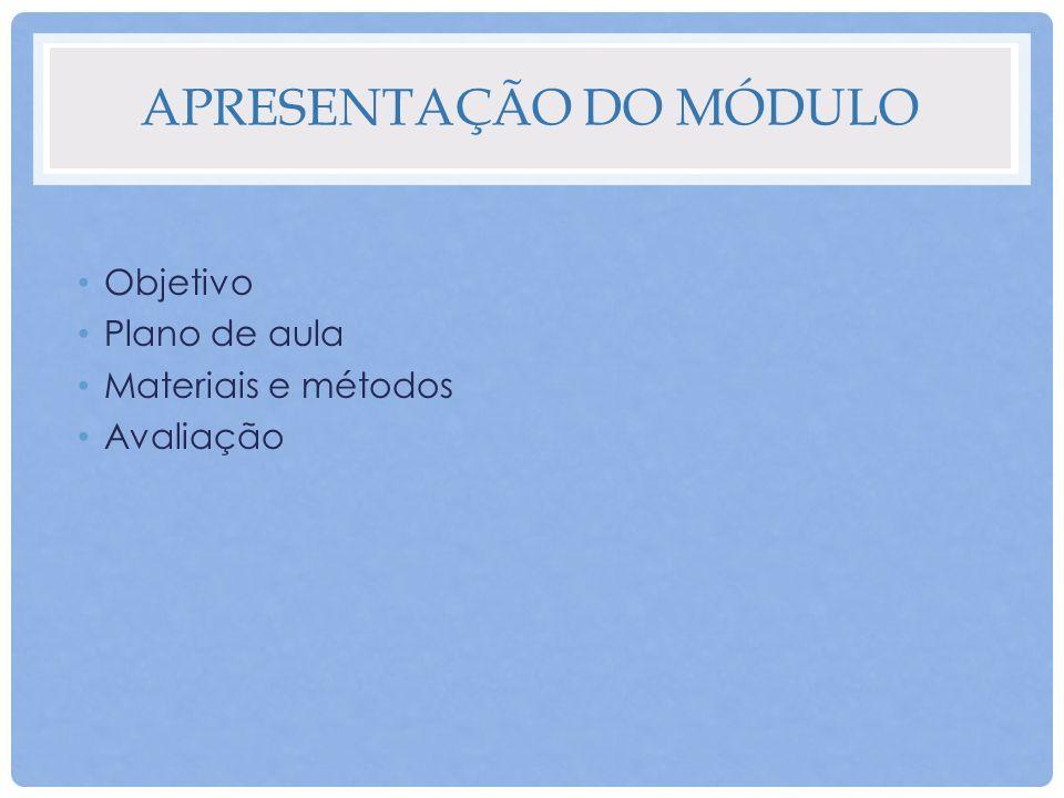 APRESENTAÇÃO DO MÓDULO Objetivo Plano de aula Materiais e métodos Avaliação
