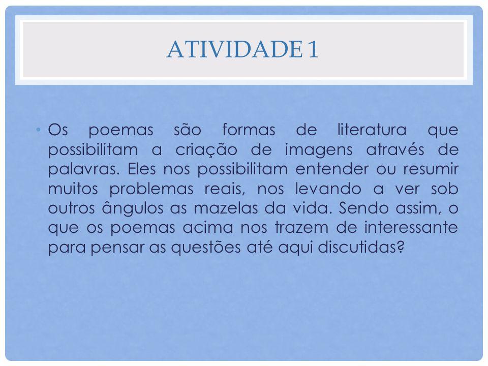 ATIVIDADE 1 Os poemas são formas de literatura que possibilitam a criação de imagens através de palavras. Eles nos possibilitam entender ou resumir mu