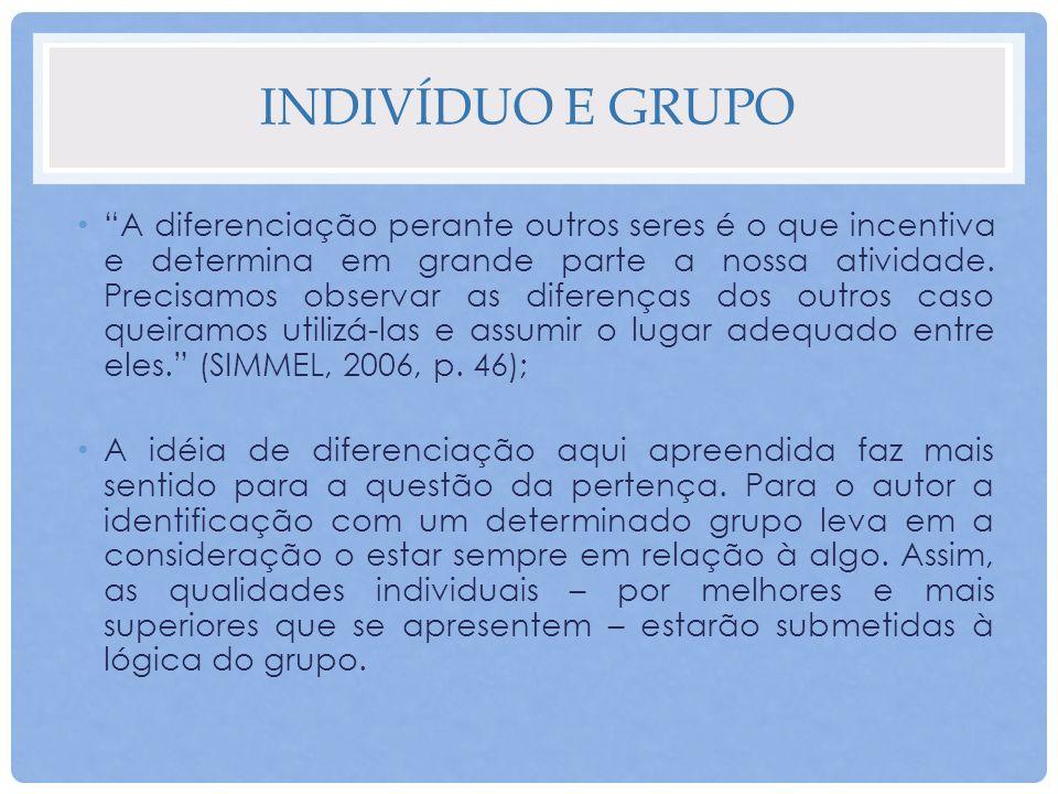 INDIVÍDUO E GRUPO Existência de um indivíduo sujeito e um indivíduo grupal; Percepção de auxílio e proteção; Perigos da ação grupal.