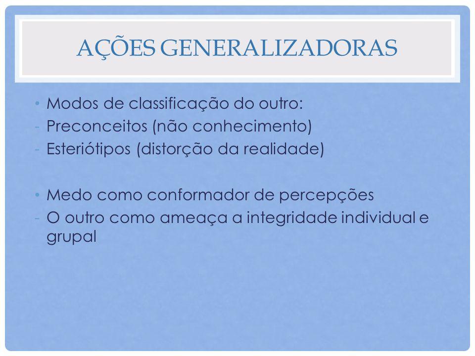 AÇÕES GENERALIZADORAS Modos de classificação do outro: -Preconceitos (não conhecimento) -Esteriótipos (distorção da realidade) Medo como conformador d