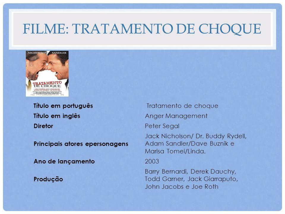 FILME: TRATAMENTO DE CHOQUE Título em português Tratamento de choque Título em inglês Anger Management Diretor Peter Segal Principais atores epersonag