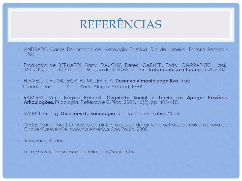 REFERÊNCIAS ANDRADE, Carlos Drummond de. Antologia Poética, Rio de Janeiro, Editora Record - 1987 Produção de BERNARDI, Barry, DAUCHY, Derek, GARNER,