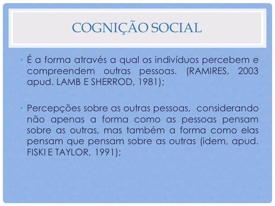 COGNIÇÃO SOCIAL É a forma através a qual os indivíduos percebem e compreendem outras pessoas. (RAMIRES, 2003 apud. LAMB E SHERROD, 1981); Percepções s