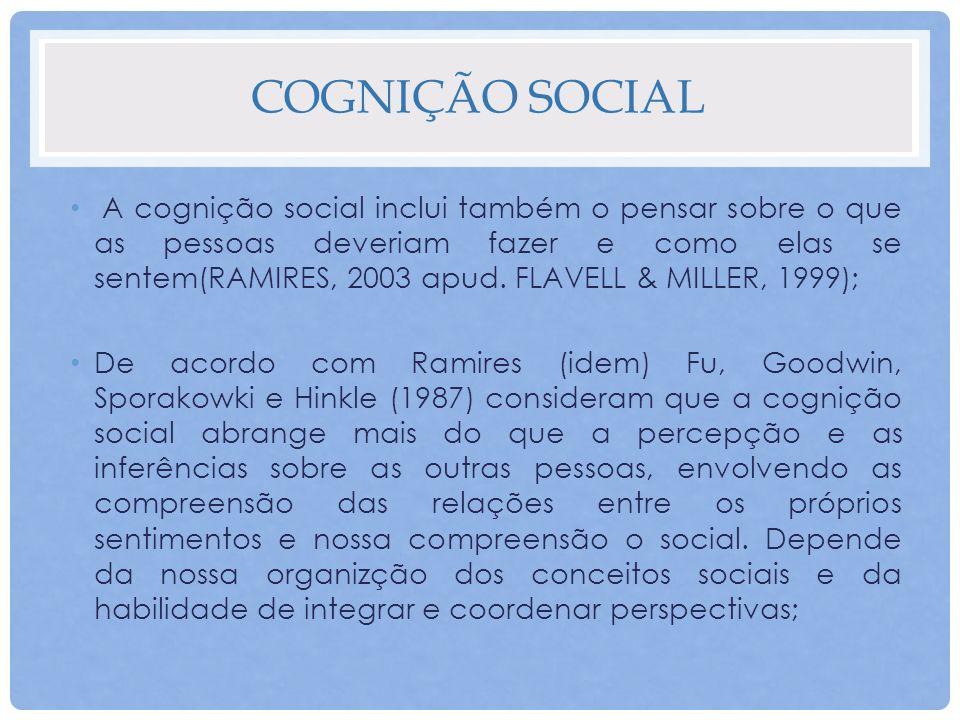 COGNIÇÃO SOCIAL A cognição social inclui também o pensar sobre o que as pessoas deveriam fazer e como elas se sentem(RAMIRES, 2003 apud. FLAVELL & MIL
