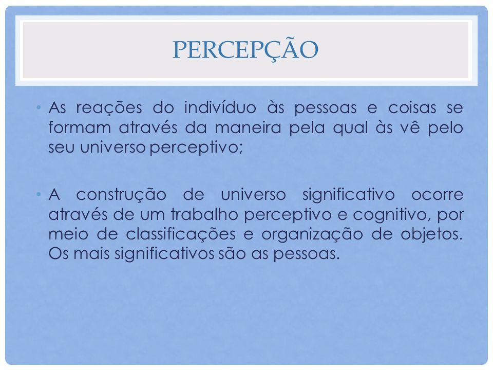 PERCEPÇÃO O comportamento social é modelado pela percepção e organização desses objetos do de um ponto de vista específico; Cada individuo desenvolve uma visão particular do universo em que está mergulhado.
