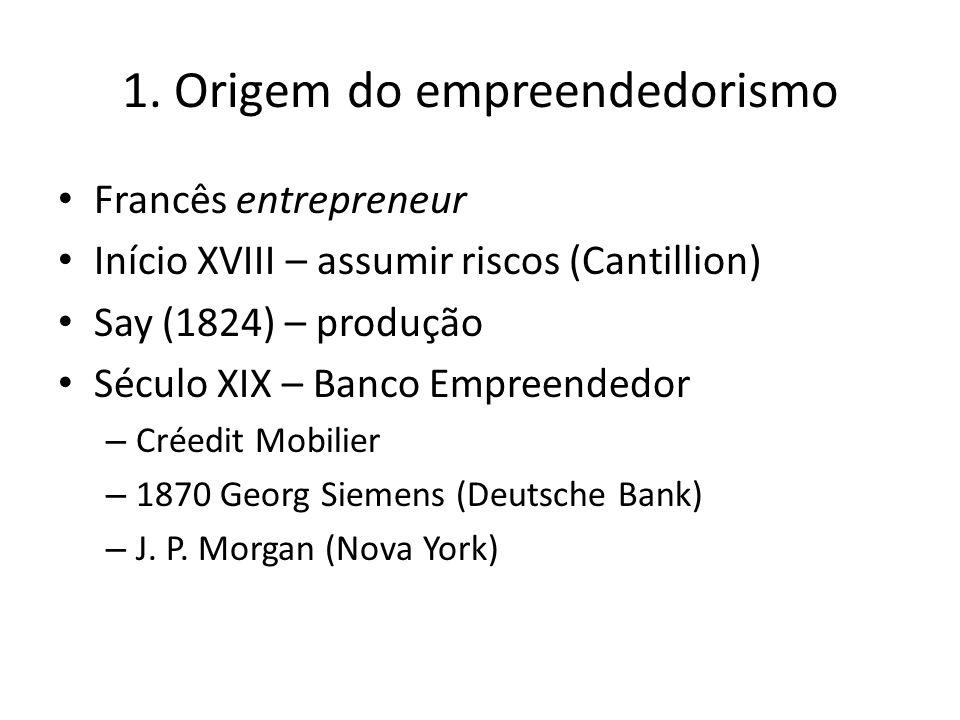 1. Origem do empreendedorismo Francês entrepreneur Início XVIII – assumir riscos (Cantillion) Say (1824) – produção Século XIX – Banco Empreendedor –