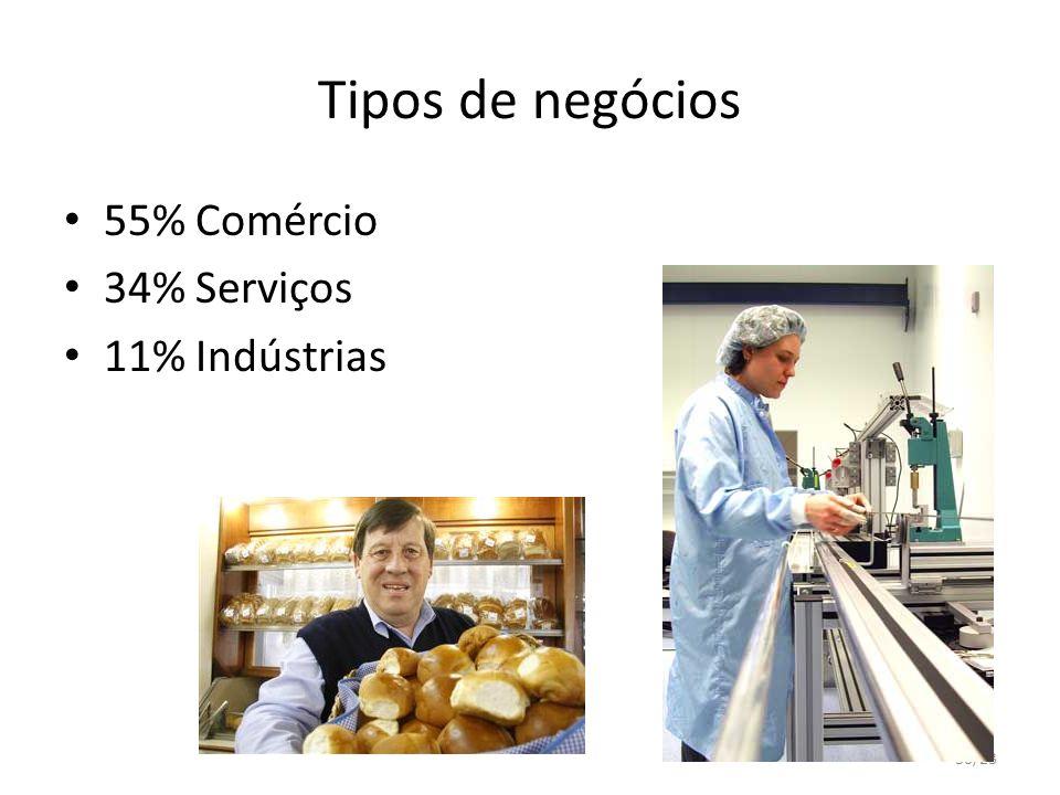 30/23 Tipos de negócios 55% Comércio 34% Serviços 11% Indústrias