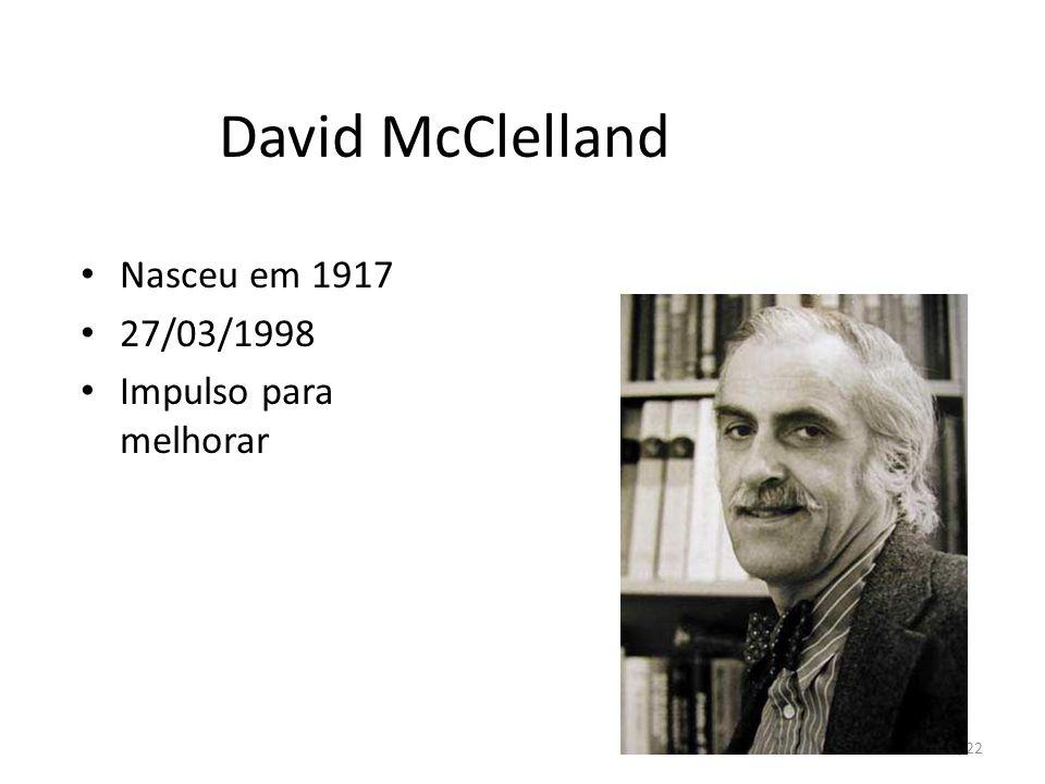 39/22 David McClelland Nasceu em 1917 27/03/1998 Impulso para melhorar