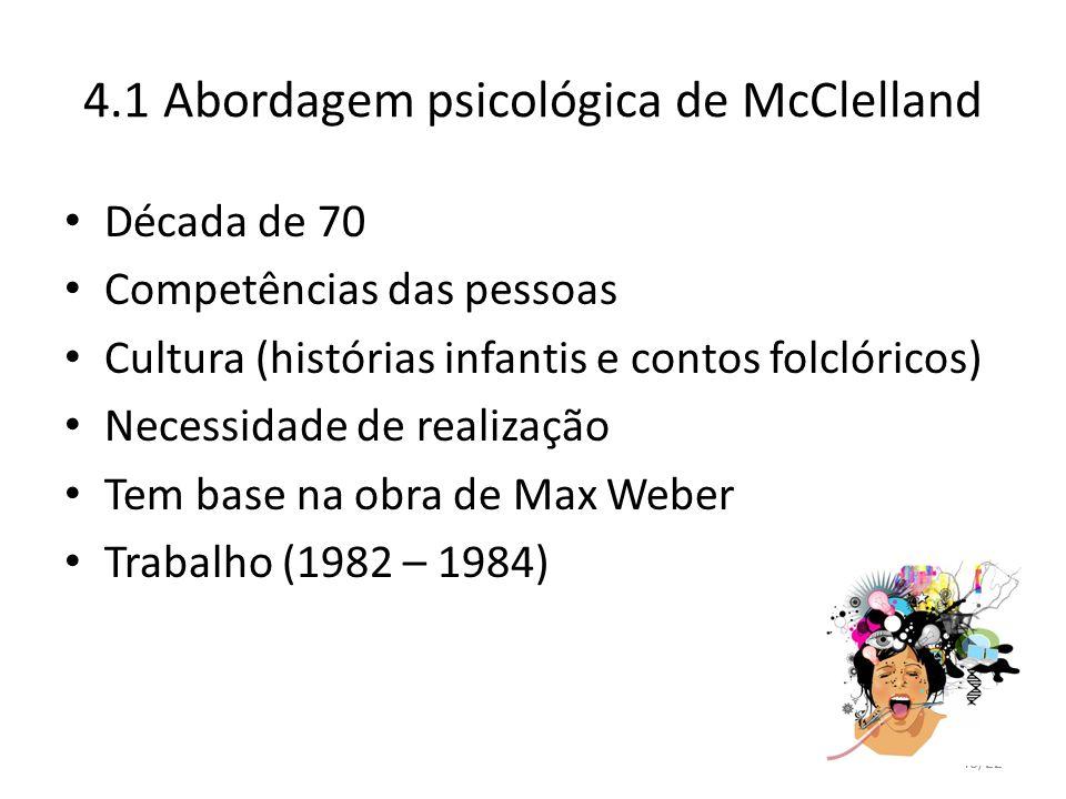 40/22 4.1 Abordagem psicológica de McClelland Década de 70 Competências das pessoas Cultura (histórias infantis e contos folclóricos) Necessidade de r