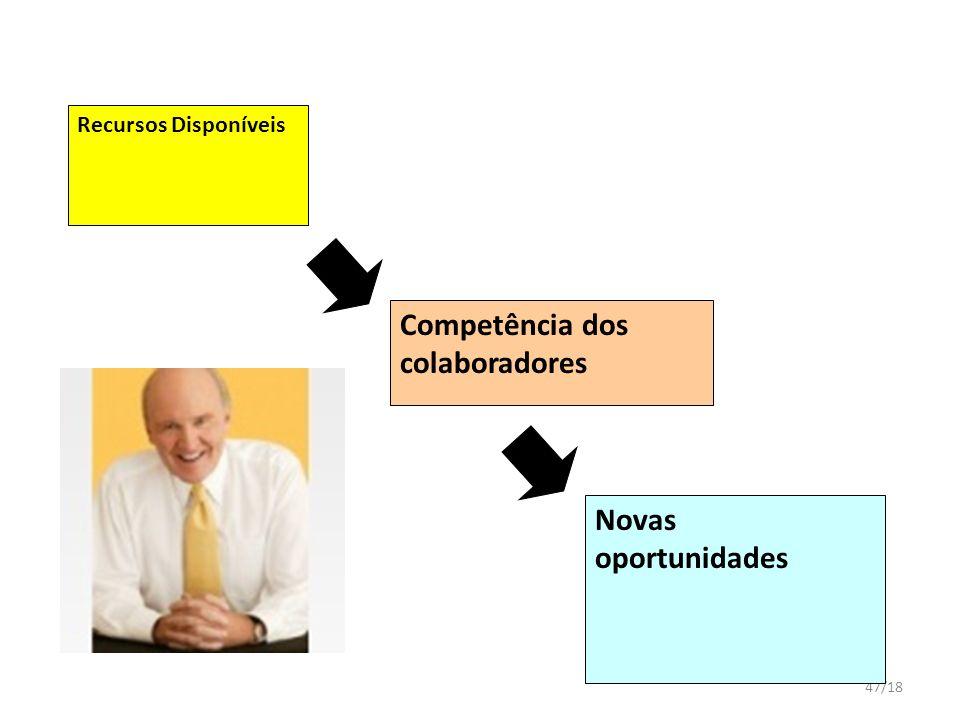47/18 Recursos Disponíveis Competência dos colaboradores Novas oportunidades