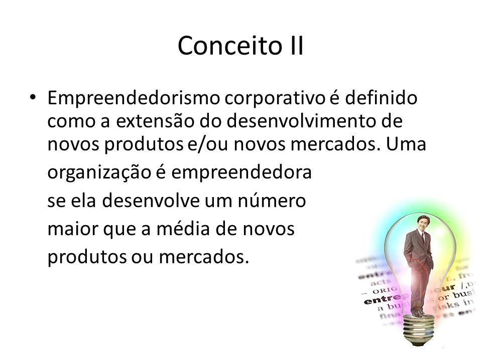 49/18 Conceito II Empreendedorismo corporativo é definido como a extensão do desenvolvimento de novos produtos e/ou novos mercados. Uma organização é