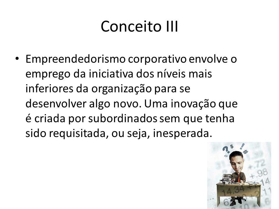 50/18 Conceito III Empreendedorismo corporativo envolve o emprego da iniciativa dos níveis mais inferiores da organização para se desenvolver algo nov