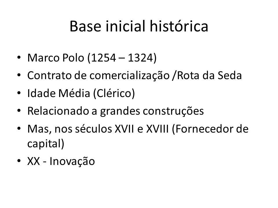 Base inicial histórica Marco Polo (1254 – 1324) Contrato de comercialização /Rota da Seda Idade Média (Clérico) Relacionado a grandes construções Mas,