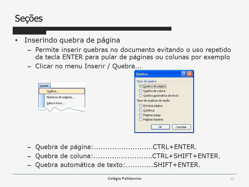 Seções Inserindo quebra de página – Permite inserir quebras no documento evitando o uso repetido da tecla ENTER para pular de páginas ou colunas por e