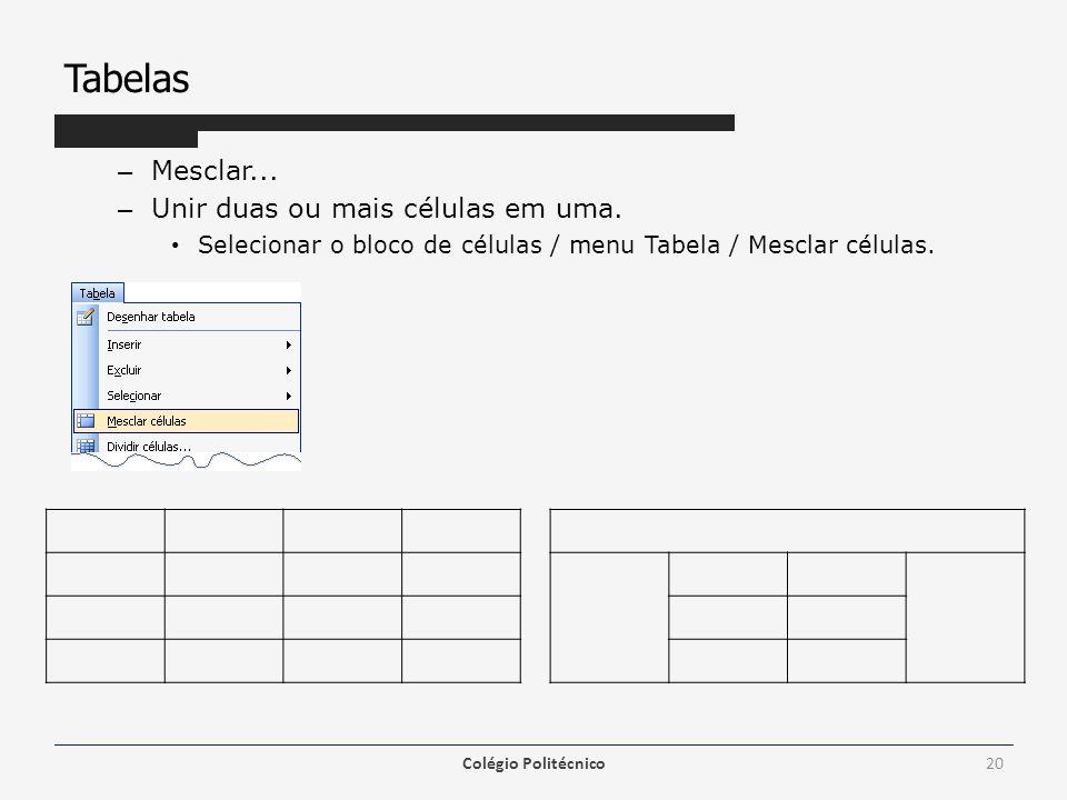 Tabelas – Mesclar... – Unir duas ou mais células em uma. Selecionar o bloco de células / menu Tabela / Mesclar células. Colégio Politécnico20