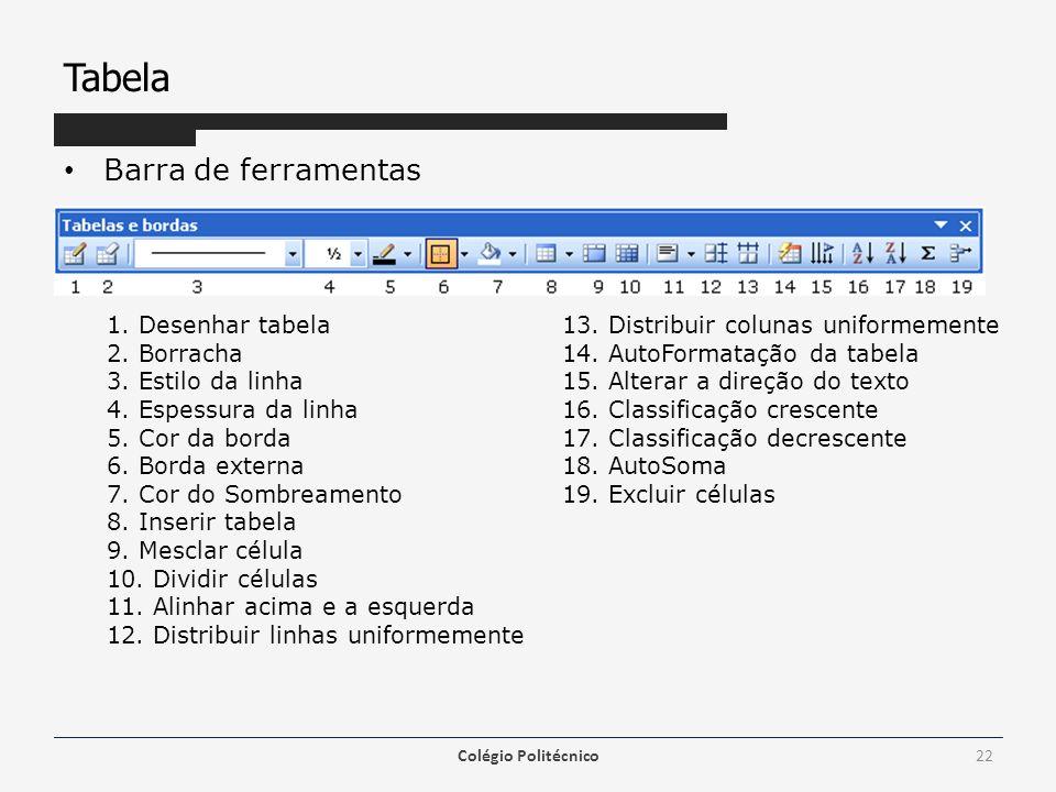 Tabela Barra de ferramentas Colégio Politécnico22 1.