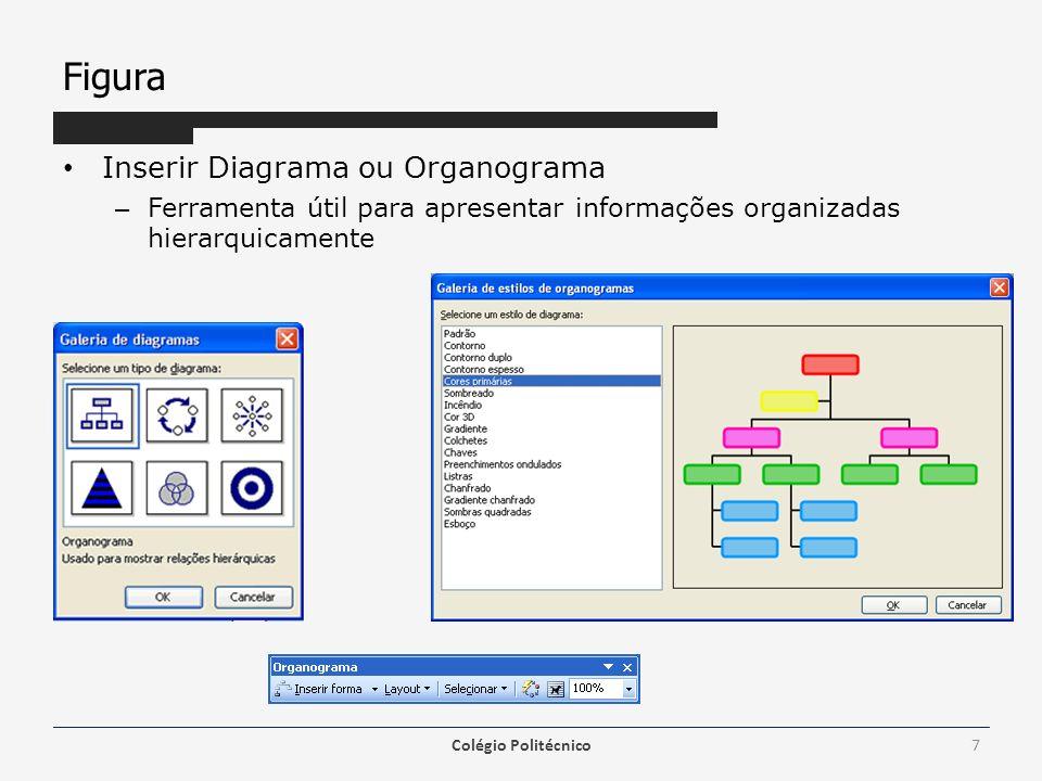 Figura Inserir Diagrama ou Organograma – Ferramenta útil para apresentar informações organizadas hierarquicamente Colégio Politécnico7
