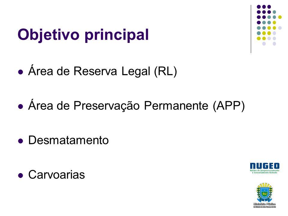 Objetivo principal Área de Reserva Legal (RL) Área de Preservação Permanente (APP) Desmatamento Carvoarias