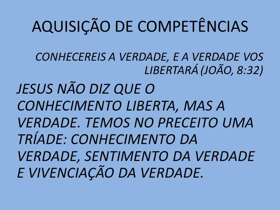AQUISIÇÃO DE COMPETÊNCIAS AS DIMENSÕES DA VERDADE VERDADE SABER SENTIR VIVENCIAR