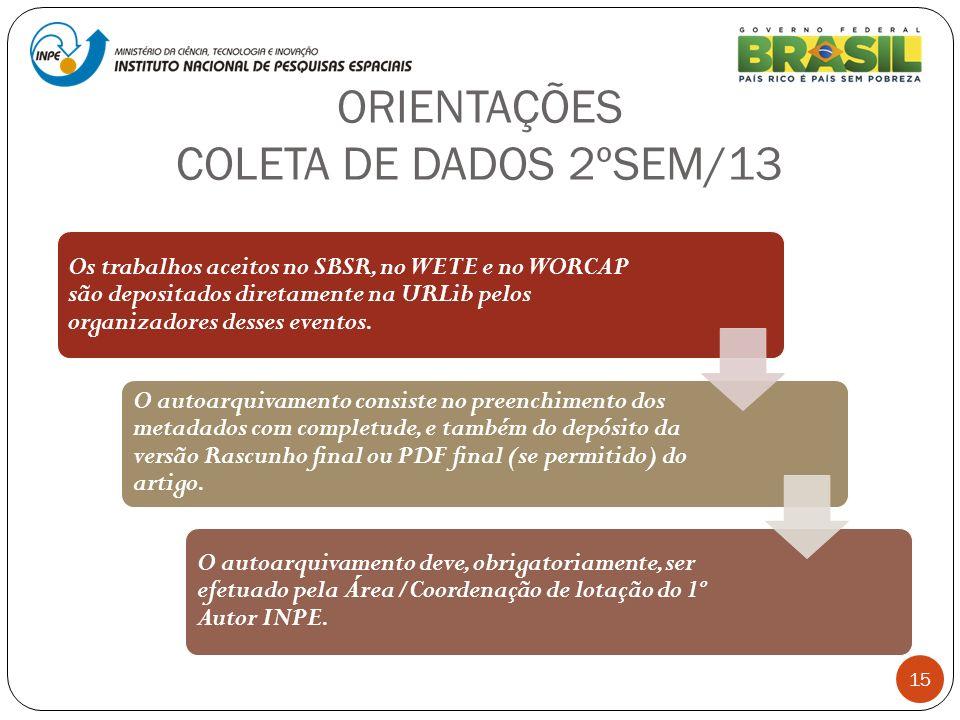 ORIENTAÇÕES COLETA DE DADOS 2ºSEM/13 15 Os trabalhos aceitos no SBSR, no WETE e no WORCAP são depositados diretamente na URLib pelos organizadores des