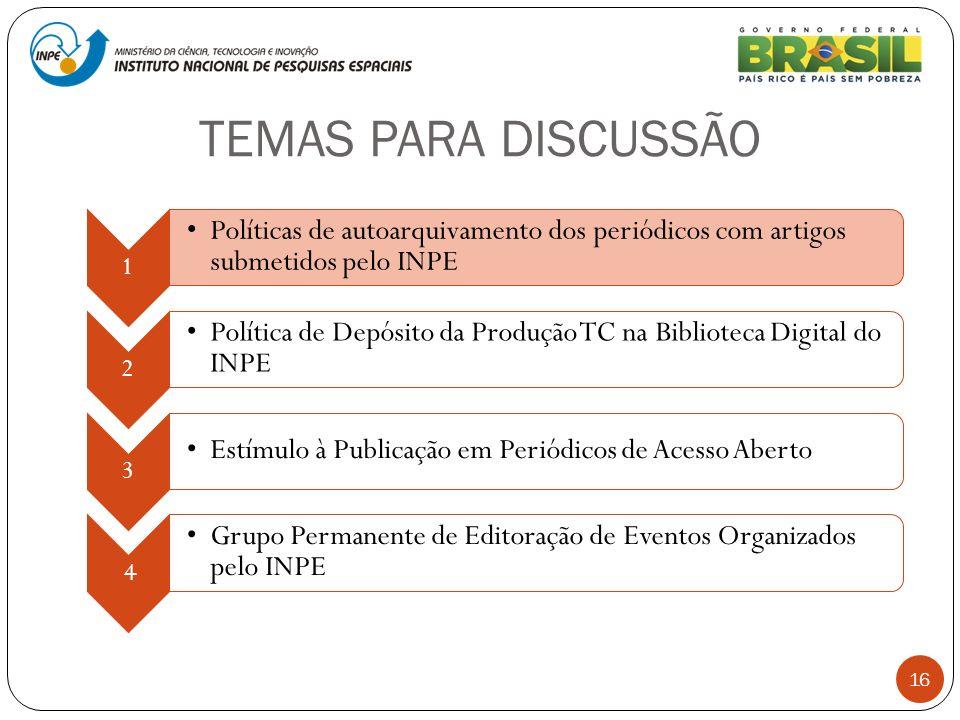 TEMAS PARA DISCUSSÃO 16 1 Políticas de autoarquivamento dos periódicos com artigos submetidos pelo INPE 2 Política de Depósito da Produção TC na Bibli
