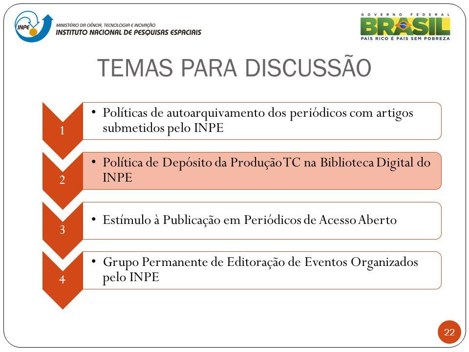 TEMAS PARA DISCUSSÃO 22 1 Políticas de autoarquivamento dos periódicos com artigos submetidos pelo INPE 2 Política de Depósito da Produção TC na Bibli
