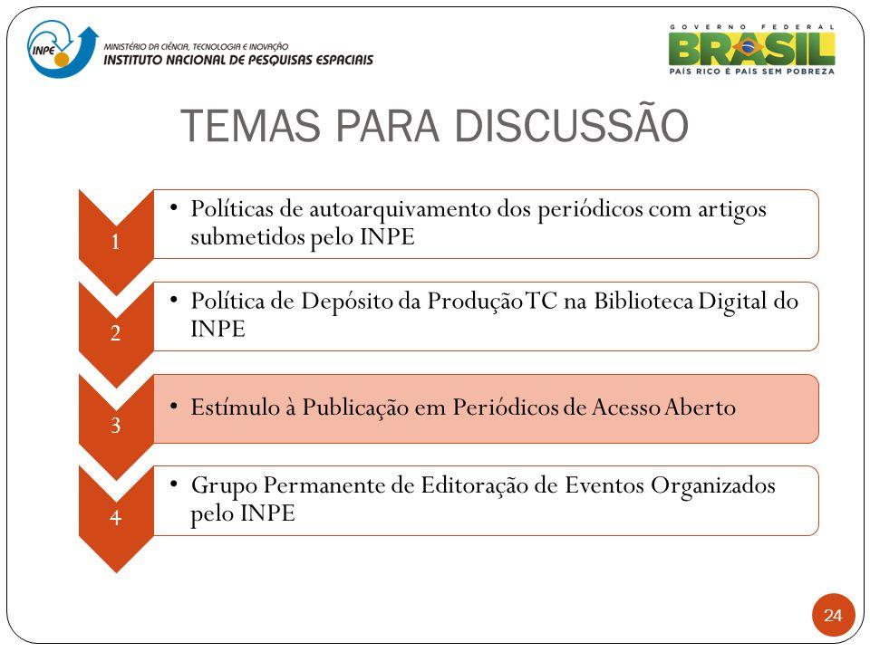 TEMAS PARA DISCUSSÃO 24 1 Políticas de autoarquivamento dos periódicos com artigos submetidos pelo INPE 2 Política de Depósito da Produção TC na Bibli