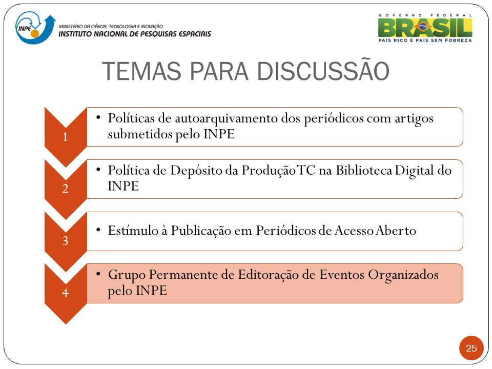 TEMAS PARA DISCUSSÃO 25 1 Políticas de autoarquivamento dos periódicos com artigos submetidos pelo INPE 2 Política de Depósito da Produção TC na Bibli