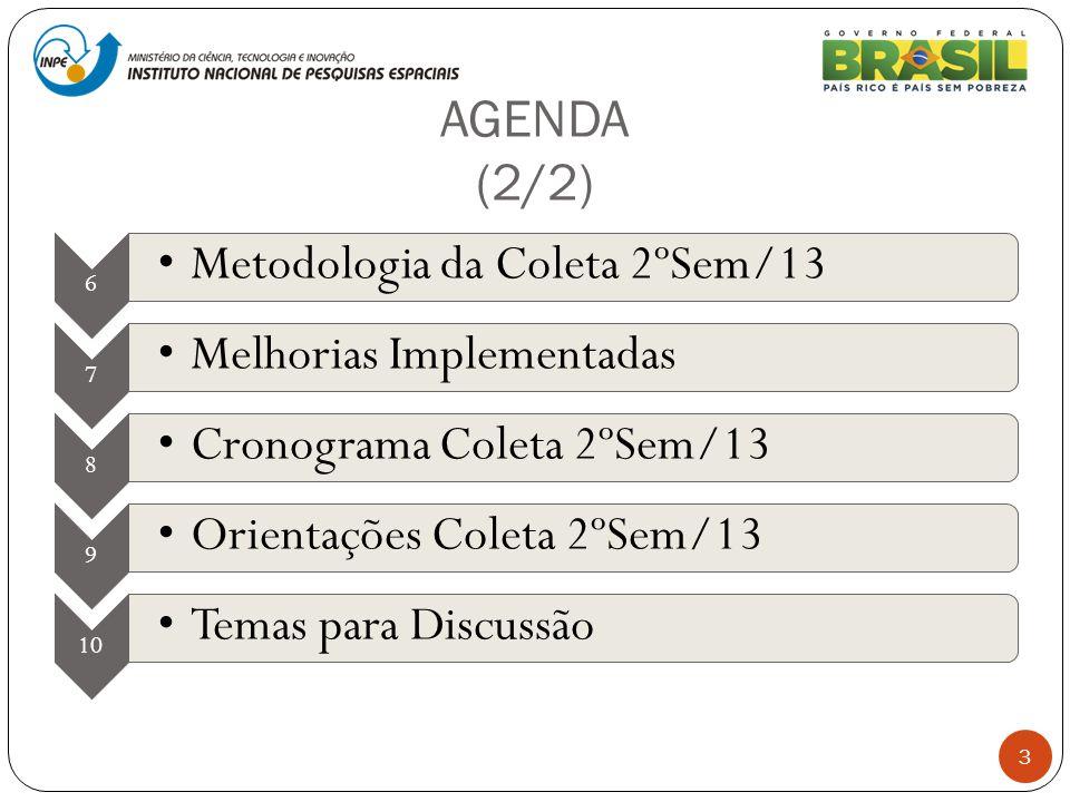 AGENDA (2/2) 3 6 Metodologia da Coleta 2ºSem/13 7 Melhorias Implementadas 8 Cronograma Coleta 2ºSem/13 9 Orientações Coleta 2ºSem/13 10 Temas para Dis