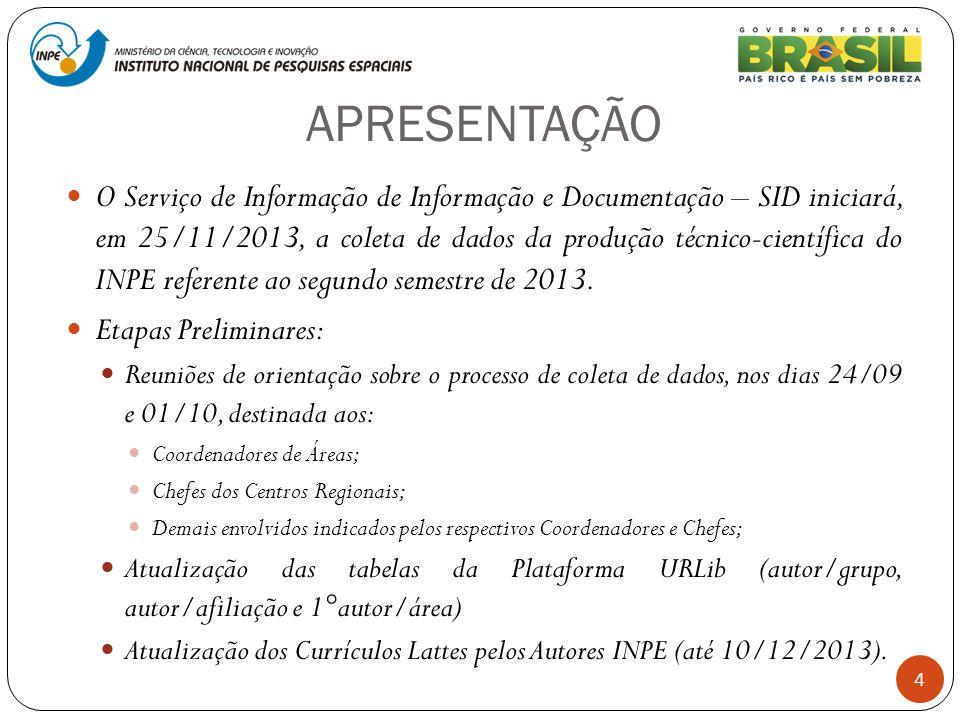 APRESENTAÇÃO 4 O Serviço de Informação de Informação e Documentação – SID iniciará, em 25/11/2013, a coleta de dados da produção técnico-científica do