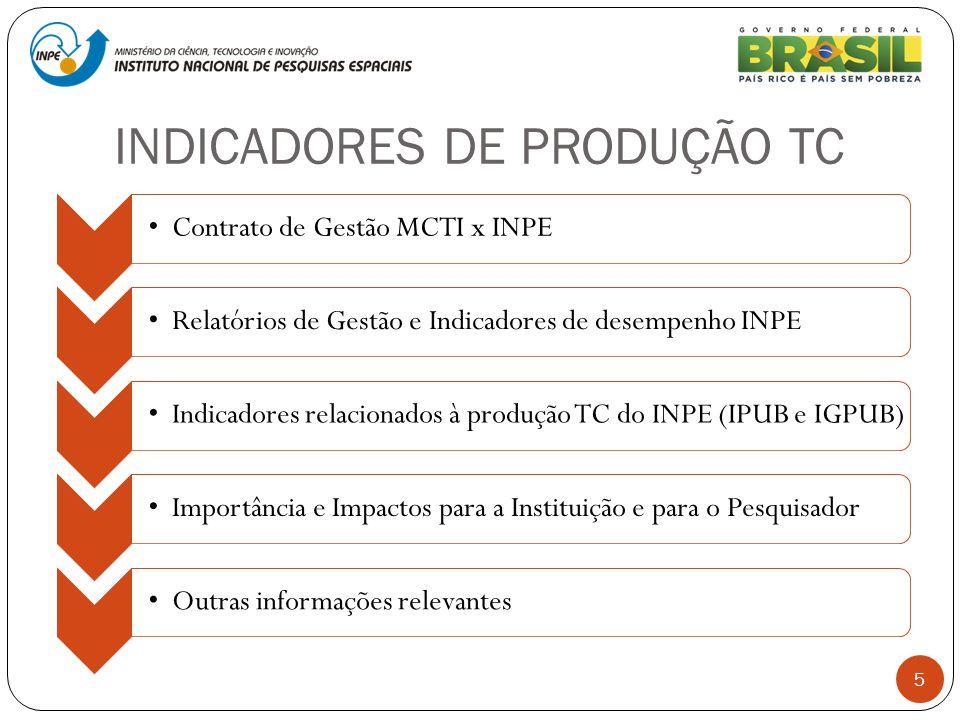 INDICADORES DE PRODUÇÃO TC 5 Contrato de Gestão MCTI x INPERelatórios de Gestão e Indicadores de desempenho INPEIndicadores relacionados à produção TC
