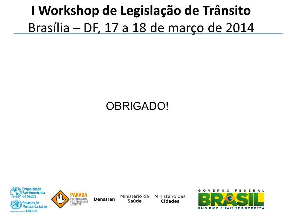 I Workshop de Legislação de Trânsito Brasília – DF, 17 a 18 de março de 2014 OBRIGADO!
