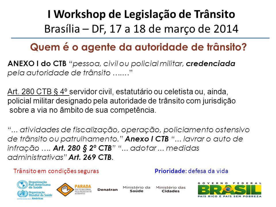 Quem é o agente da autoridade de trânsito? I Workshop de Legislação de Trânsito Brasília – DF, 17 a 18 de março de 2014 ANEXO I do CTBpessoa, civil ou
