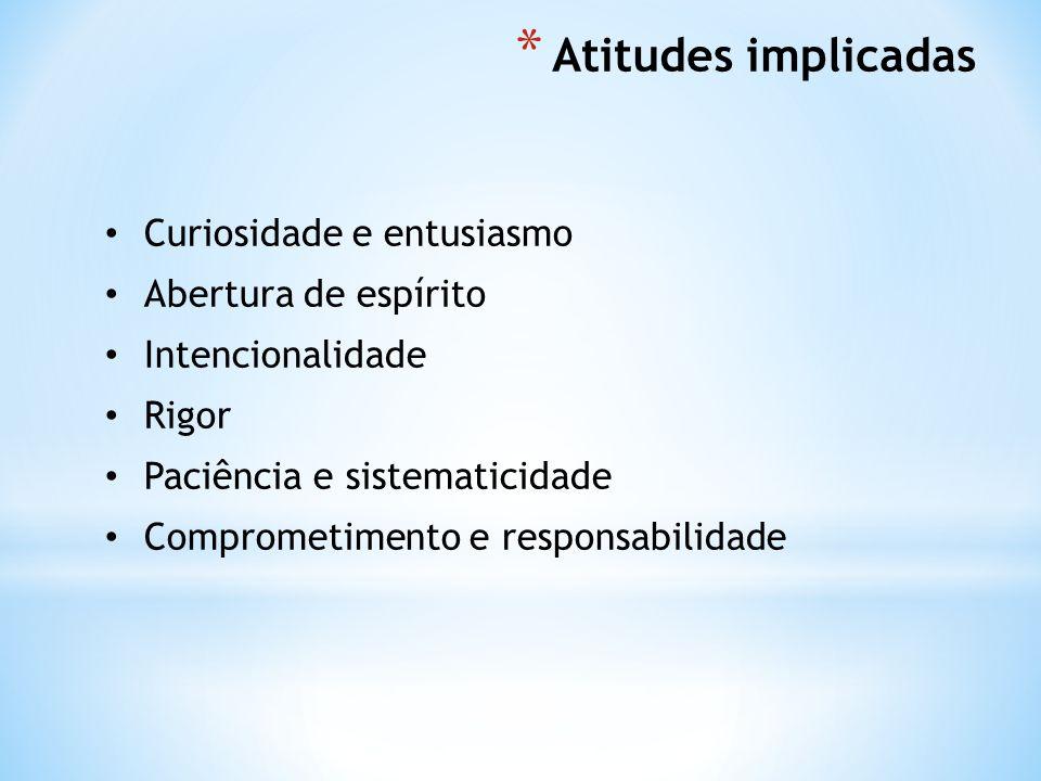 * Atitudes implicadas Curiosidade e entusiasmo Abertura de espírito Intencionalidade Rigor Paciência e sistematicidade Comprometimento e responsabilidade