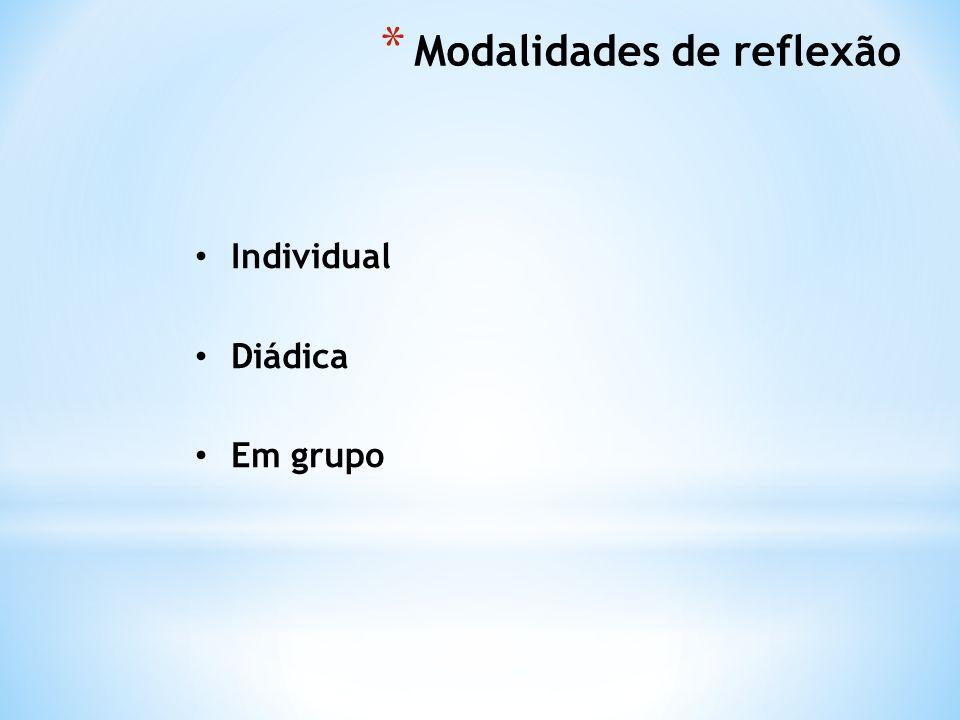 * Modalidades de reflexão Individual Diádica Em grupo
