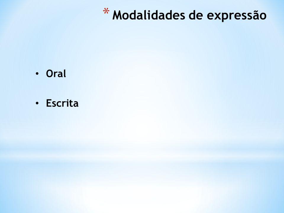 * Modalidades de expressão Oral Escrita