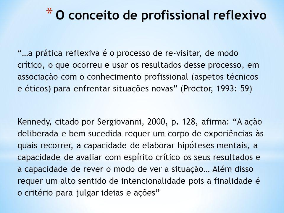 * O conceito de profissional reflexivo …a prática reflexiva é o processo de re-visitar, de modo crítico, o que ocorreu e usar os resultados desse processo, em associação com o conhecimento profissional (aspetos técnicos e éticos) para enfrentar situações novas (Proctor, 1993: 59) Kennedy, citado por Sergiovanni, 2000, p.