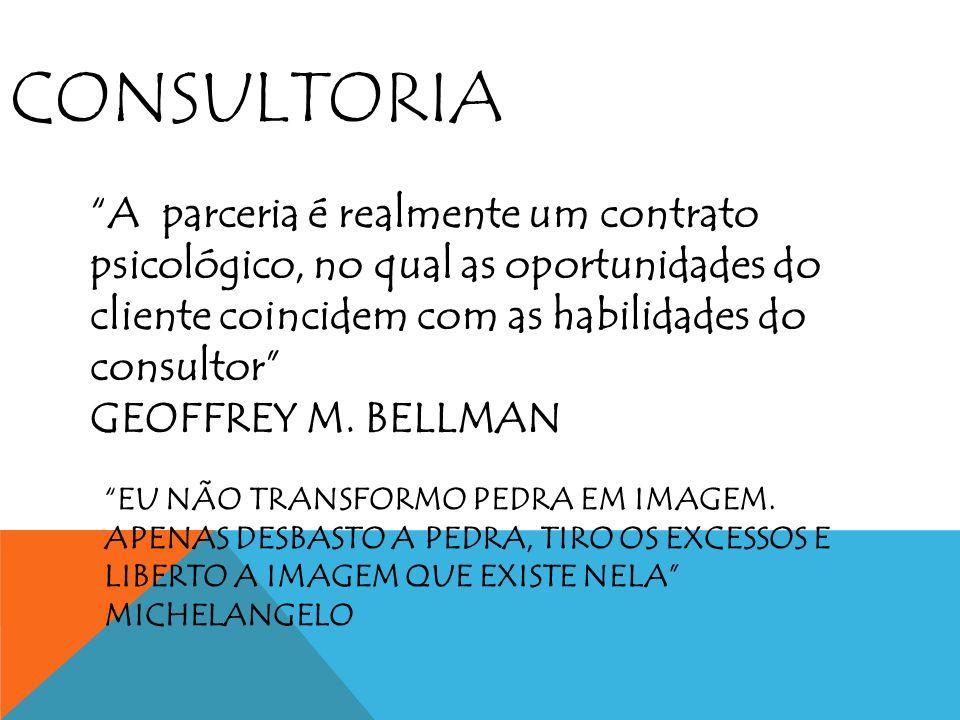 CONSULTORIA A parceria é realmente um contrato psicológico, no qual as oportunidades do cliente coincidem com as habilidades do consultor GEOFFREY M.
