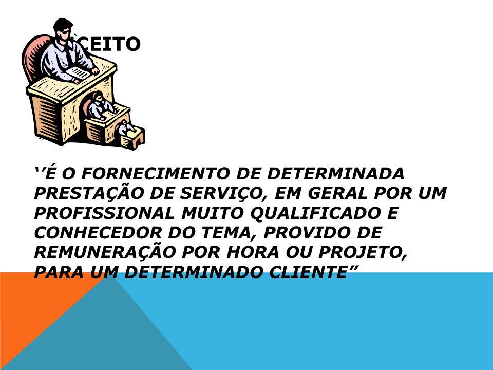 CONCEITO É O FORNECIMENTO DE DETERMINADA PRESTAÇÃO DE SERVIÇO, EM GERAL POR UM PROFISSIONAL MUITO QUALIFICADO E CONHECEDOR DO TEMA, PROVIDO DE REMUNER