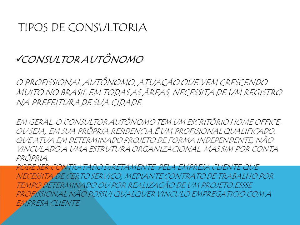TIPOS DE CONSULTORIA CONSULTOR AUTÔNOMO O PROFISSIONAL AUTÔNOMO, ATUAÇÀO QUE VEM CRESCENDO MUITO NO BRASIL.EM TODAS AS ÁREAS, NECESSITA DE UM REGISTRO